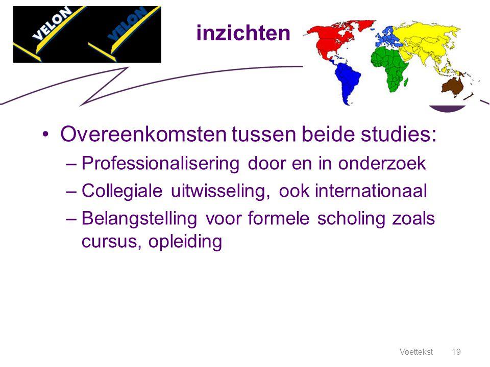 Voettekst19 inzichten Overeenkomsten tussen beide studies: –Professionalisering door en in onderzoek –Collegiale uitwisseling, ook internationaal –Bel
