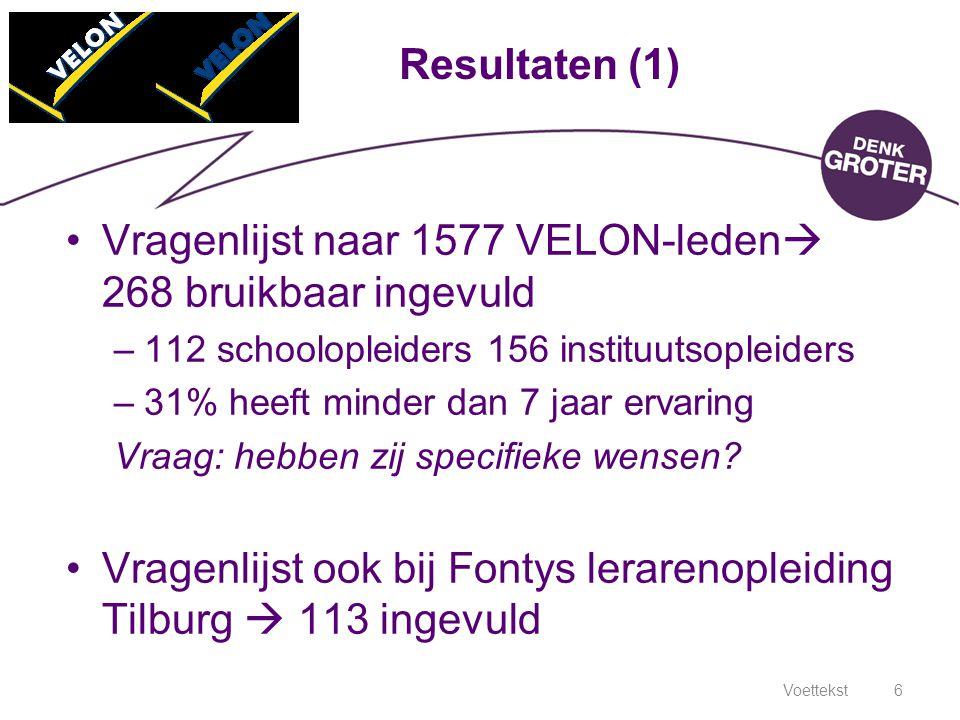 Voettekst6 Resultaten (1) Vragenlijst naar 1577 VELON-leden  268 bruikbaar ingevuld –112 schoolopleiders 156 instituutsopleiders –31% heeft minder da