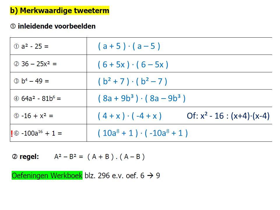 ( ? ? ) ∙ ( ? ? )( a + 5 ) ∙ ( a – 5 ) ( 6 + 5x ) ∙ ( 6 – 5x ) ( b² + 7 ) ∙ ( b² – 7 ) ( 8a + 9b³ ) ∙ ( 8a – 9b³ ) ( 4 + x ) ∙ ( -4 + x ) ( 10a 8 + 1