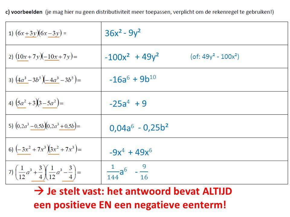36x² - 9y² -100x² + 49y² -16a 6 + 9b 10 -25a 4 + 9 0,04a 6 - 0,25b² -9x 4 + 49x 6 (of: 49y² - 100x²)  Je stelt vast: het antwoord bevat ALTIJD een po