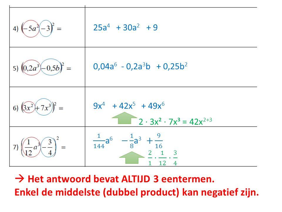 25a 4 + 30a 2 + 9 0,04a 6 - 0,2a 3 b+ 0,25b 2 9x 4 + 42x 5 + 49x 6 2 ∙ 3x² ∙ 7x³ = 42x 2+3  Het antwoord bevat ALTIJD 3 eentermen. Enkel de middelste