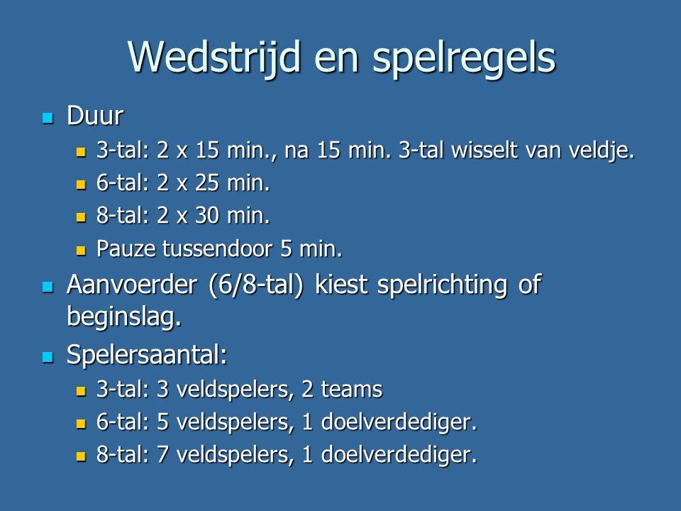Wedstrijd en spelregels Duur Duur 3-tal: 2 x 15 min., na 15 min.