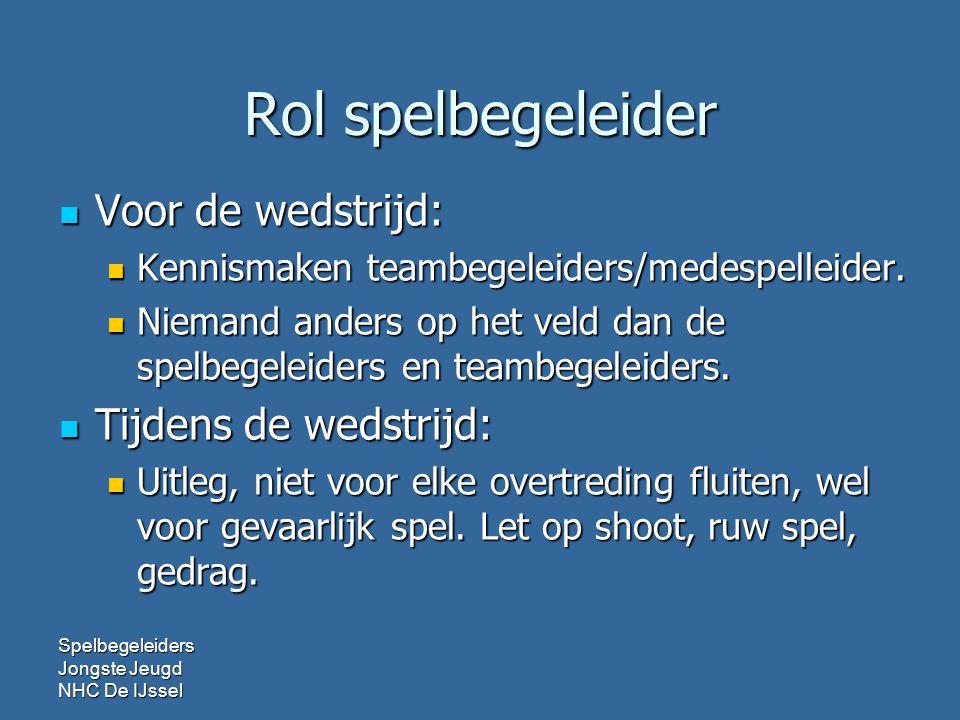 Rol spelbegeleider Voor de wedstrijd: Voor de wedstrijd: Kennismaken teambegeleiders/medespelleider.