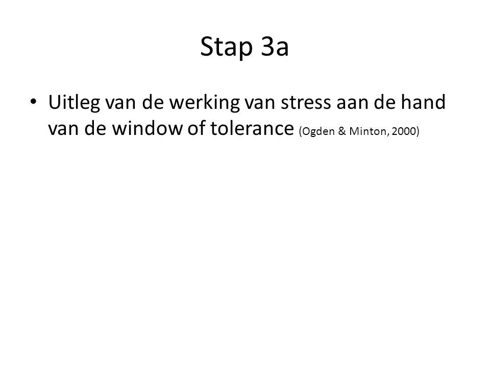 Stap 3a Uitleg van de werking van stress aan de hand van de window of tolerance (Ogden & Minton, 2000)