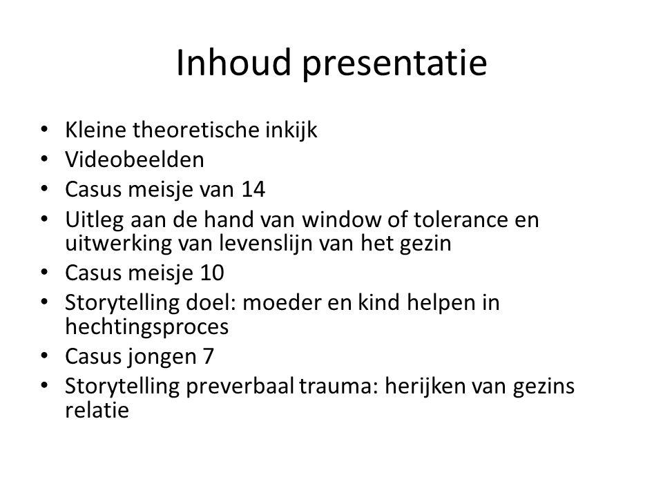 Inhoud presentatie Kleine theoretische inkijk Videobeelden Casus meisje van 14 Uitleg aan de hand van window of tolerance en uitwerking van levenslijn