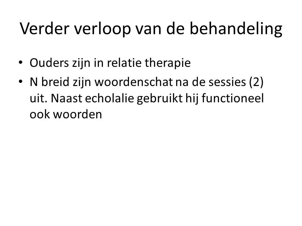 Verder verloop van de behandeling Ouders zijn in relatie therapie N breid zijn woordenschat na de sessies (2) uit. Naast echolalie gebruikt hij functi