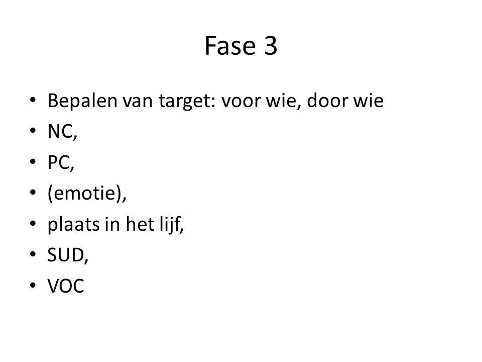 Fase 3 Bepalen van target: voor wie, door wie NC, PC, (emotie), plaats in het lijf, SUD, VOC