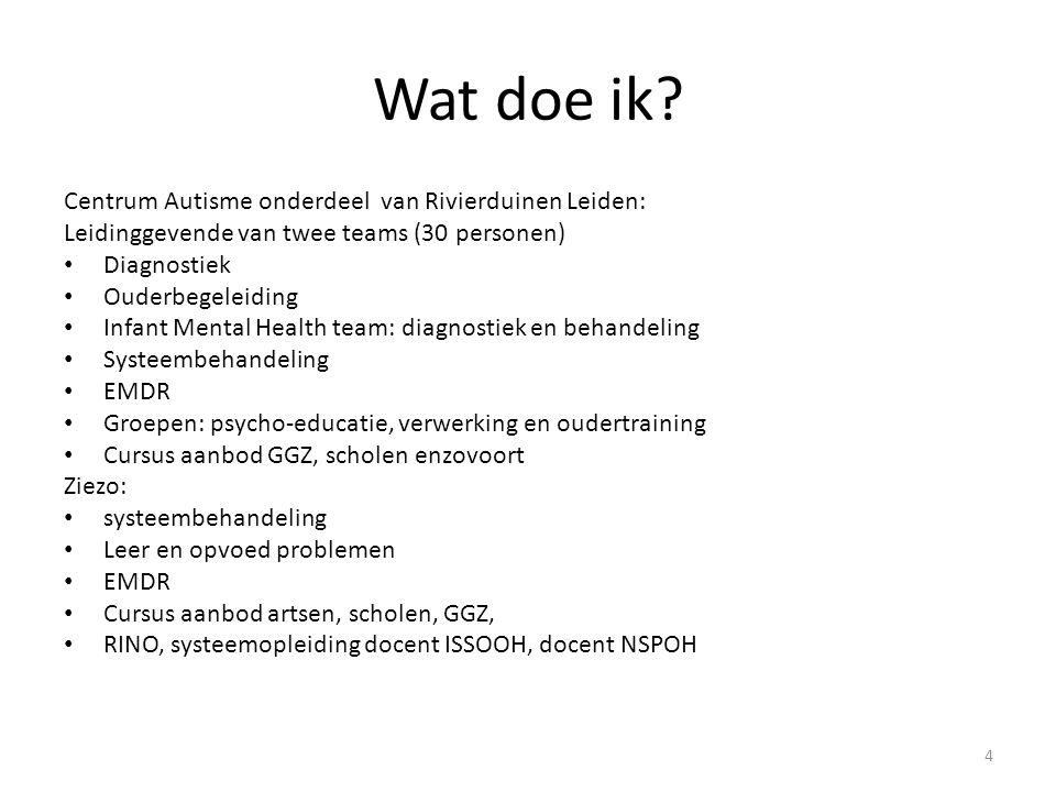 Wat doe ik? Centrum Autisme onderdeel van Rivierduinen Leiden: Leidinggevende van twee teams (30 personen) Diagnostiek Ouderbegeleiding Infant Mental