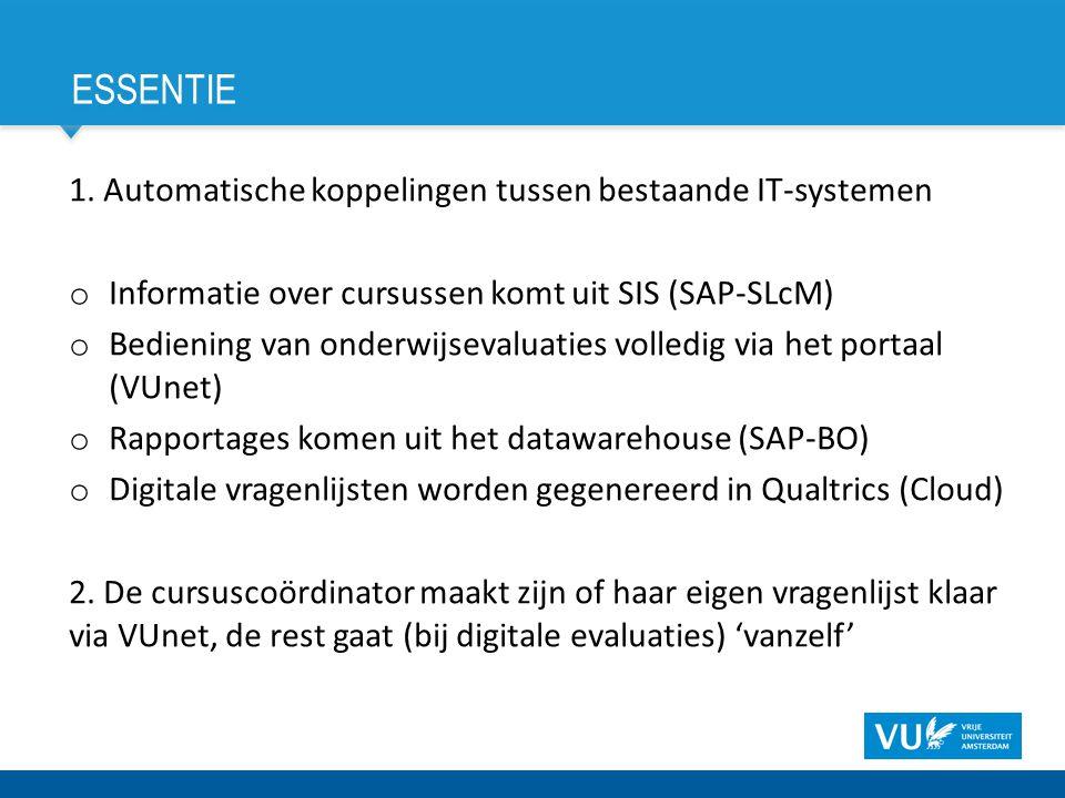 ESSENTIE 1. Automatische koppelingen tussen bestaande IT-systemen o Informatie over cursussen komt uit SIS (SAP-SLcM) o Bediening van onderwijsevaluat