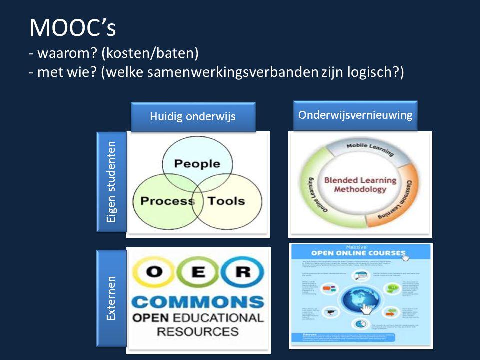 MOOC's - waarom. (kosten/baten) - met wie.