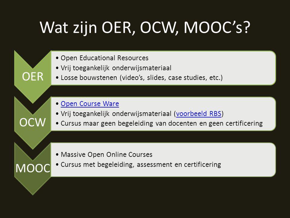 Wat zijn OER, OCW, MOOC's.