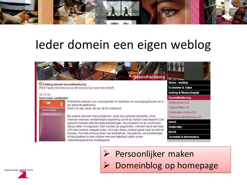 Ieder domein een eigen weblog  Persoonlijker maken  Domeinblog op homepage  Persoonlijker maken  Domeinblog op homepage