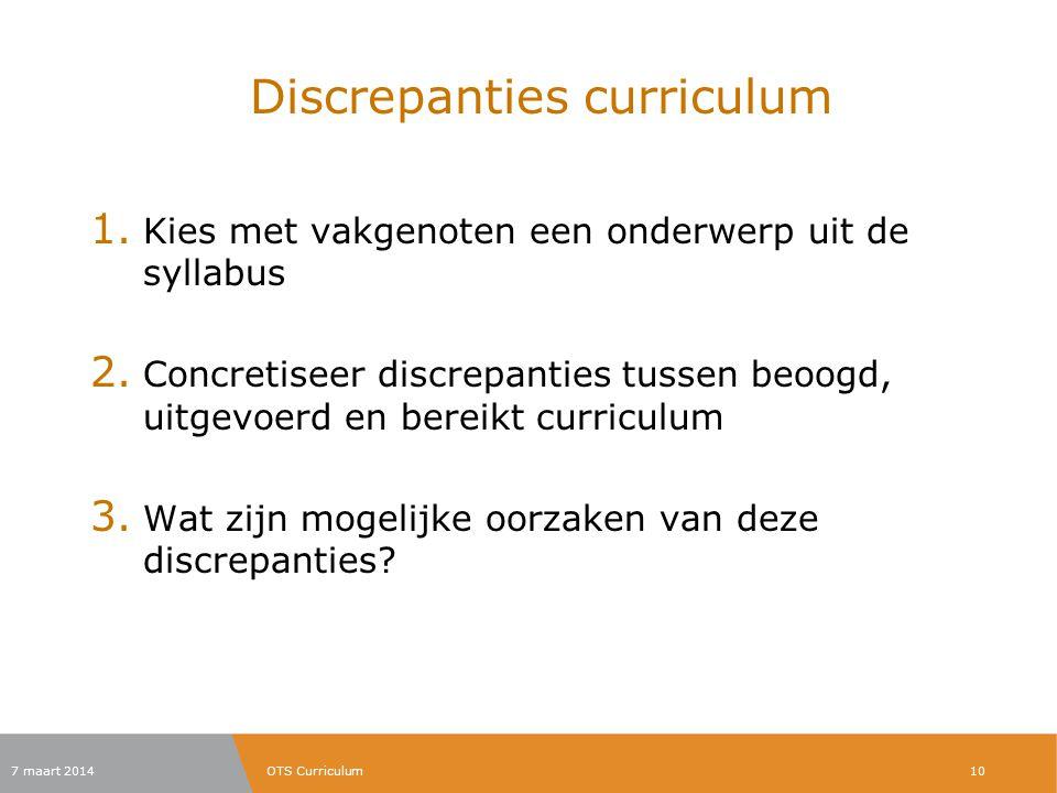 Discrepanties curriculum 1. Kies met vakgenoten een onderwerp uit de syllabus 2. Concretiseer discrepanties tussen beoogd, uitgevoerd en bereikt curri