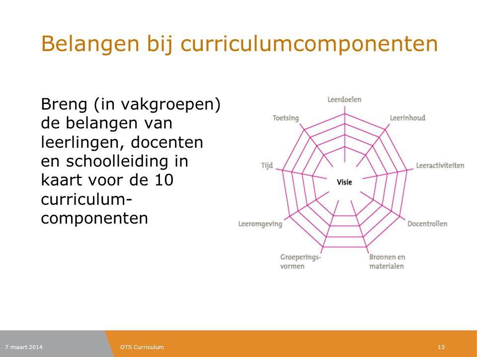 Belangen bij curriculumcomponenten Breng (in vakgroepen) de belangen van leerlingen, docenten en schoolleiding in kaart voor de 10 curriculum- compone