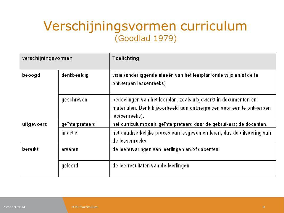 Verschijningsvormen curriculum (Goodlad 1979) 7 maart 2014OTS Curriculum9