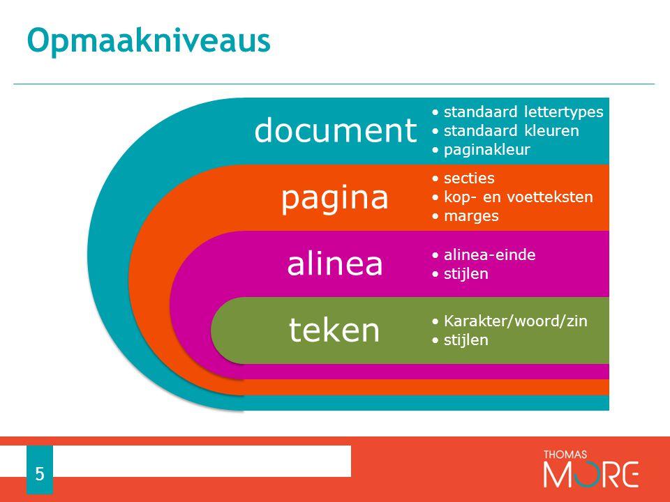 Opmaakniveaus 5 document pagina alinea teken standaard lettertypes standaard kleuren paginakleur secties kop- en voetteksten marges alinea-einde stijl