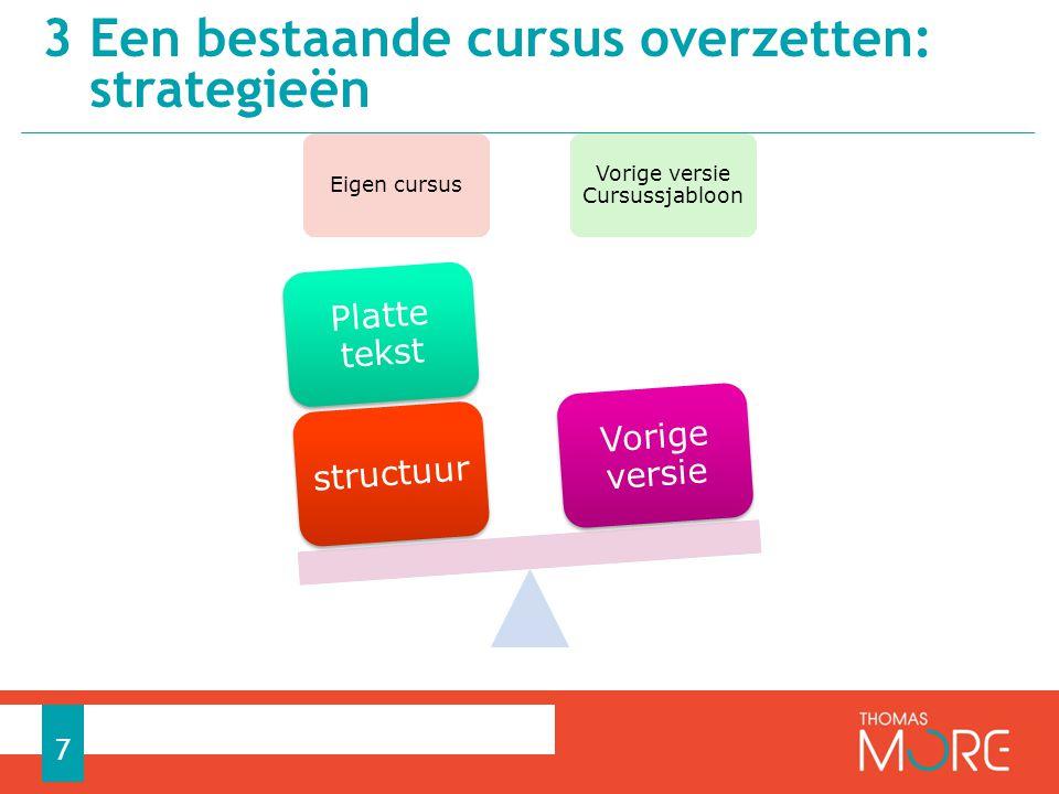Eigen cursus Vorige versie Cursussjabloon structuur Platte tekst Vorige versie 3 Een bestaande cursus overzetten: strategieën 7