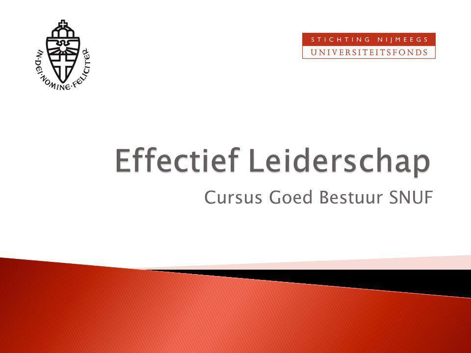  De situatie is telkens verschillend  Effectief leiderschap afhankelijk van: ◦ Kennis/Kunde ◦ Zelfvertrouwen/Motivatie  Hoe merk je dat in eigen bestuur?