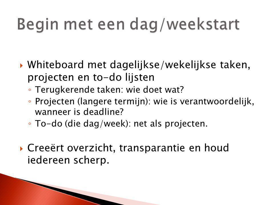  Whiteboard met dagelijkse/wekelijkse taken, projecten en to-do lijsten ◦ Terugkerende taken: wie doet wat? ◦ Projecten (langere termijn): wie is ver