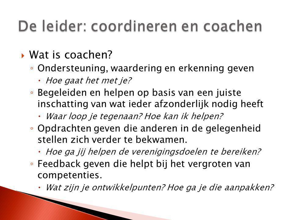  Wat is coachen? ◦ Ondersteuning, waardering en erkenning geven  Hoe gaat het met je? ◦ Begeleiden en helpen op basis van een juiste inschatting van