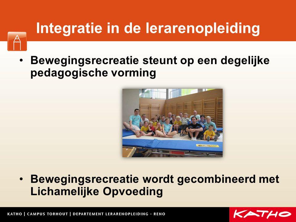 Integratie in de lerarenopleiding Bewegingsrecreatie steunt op een degelijke pedagogische vorming Bewegingsrecreatie wordt gecombineerd met Lichamelij