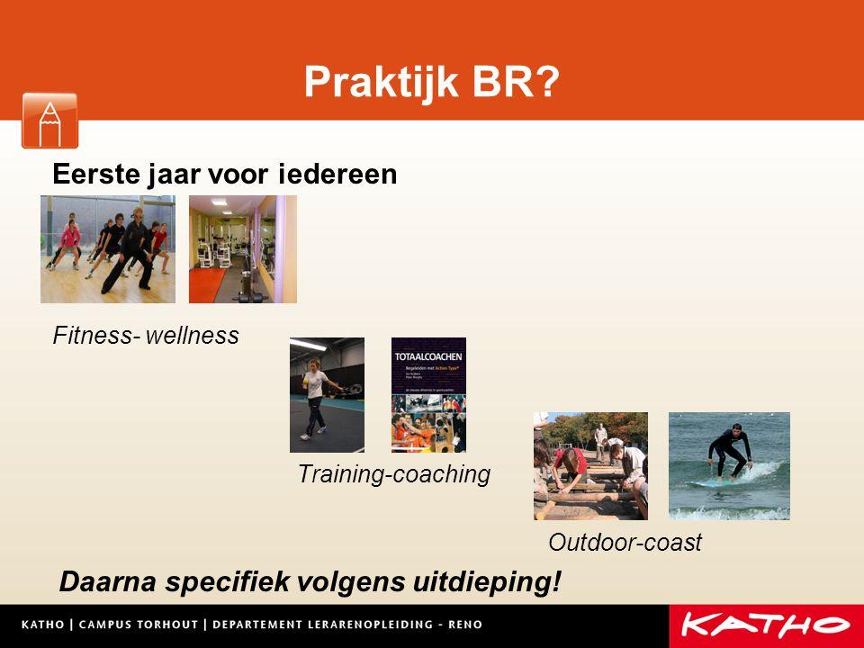 Praktijk BR? Eerste jaar voor iedereen Fitness- wellness Training-coaching Outdoor-coast Daarna specifiek volgens uitdieping!