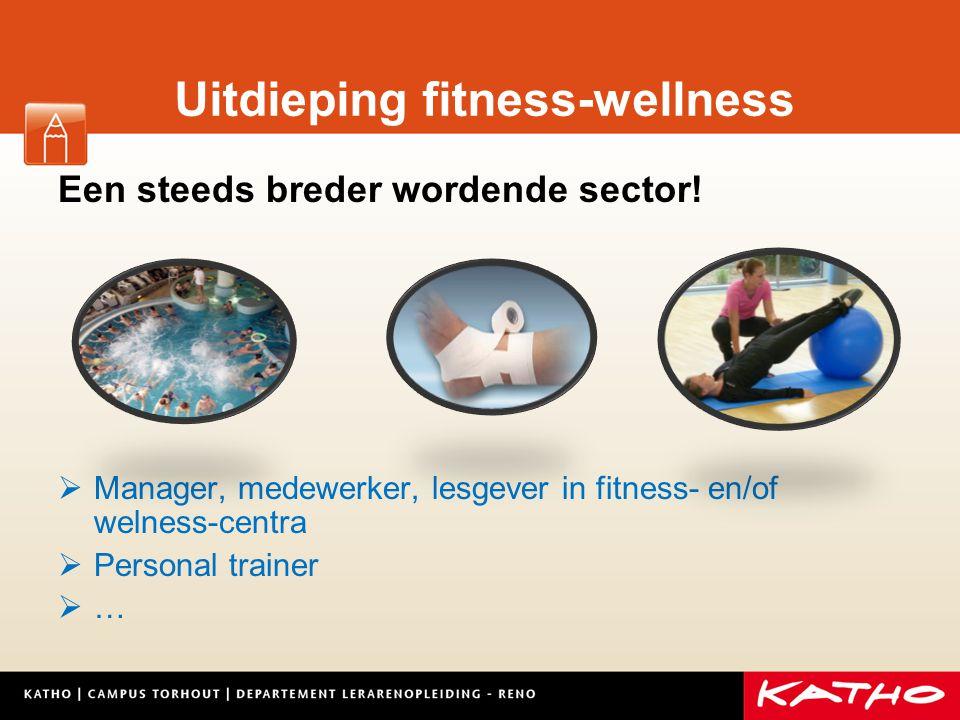 Uitdieping fitness-wellness Een steeds breder wordende sector!  Manager, medewerker, lesgever in fitness- en/of welness-centra  Personal trainer  …