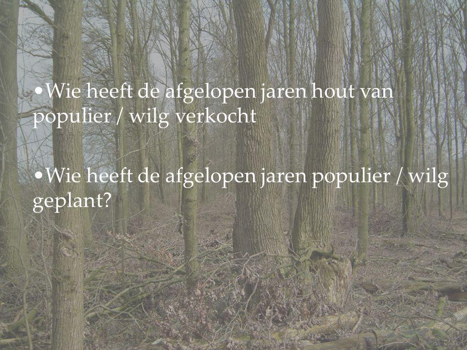 Wie heeft de afgelopen jaren hout van populier / wilg verkocht Wie heeft de afgelopen jaren populier / wilg geplant?