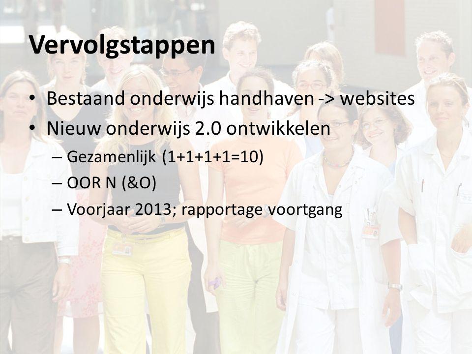 Vervolgstappen Bestaand onderwijs handhaven -> websites Nieuw onderwijs 2.0 ontwikkelen – Gezamenlijk (1+1+1+1=10) – OOR N (&O) – Voorjaar 2013; rapportage voortgang