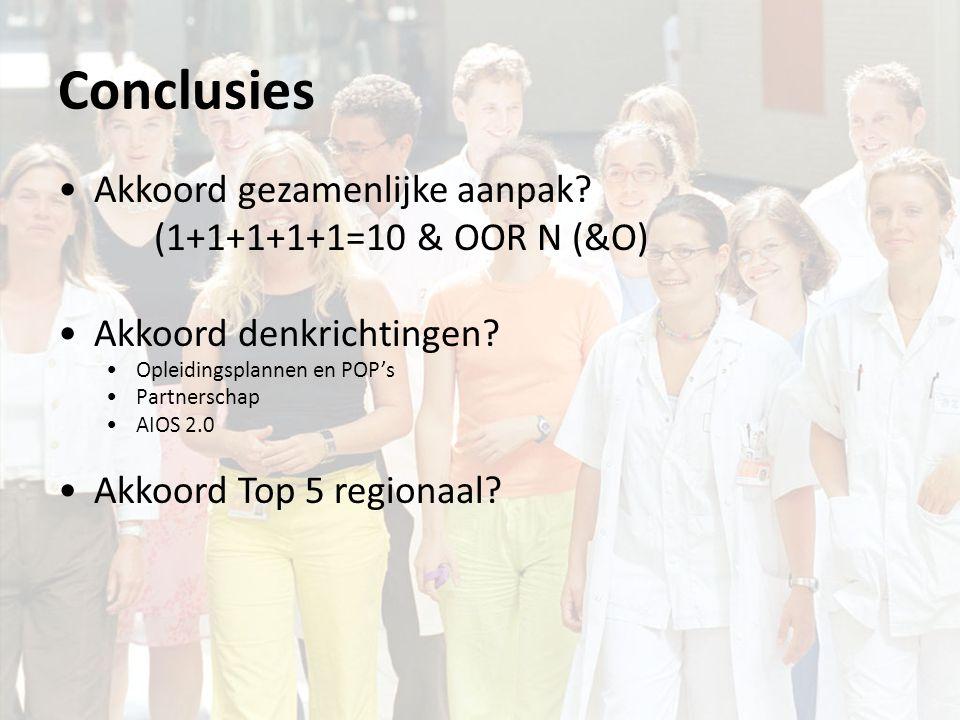 Conclusies Akkoord gezamenlijke aanpak. (1+1+1+1+1=10 & OOR N (&O) Akkoord denkrichtingen.