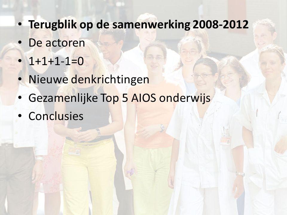 Terugblik op de samenwerking 2008-2012 De actoren – Opleiders – AIOS – Instituten – AIOS onderwijs 1+1+1-1=0 Nieuwe denkrichtingen Gezamenlijke Top 5 AIOS onderwijs Conclusies