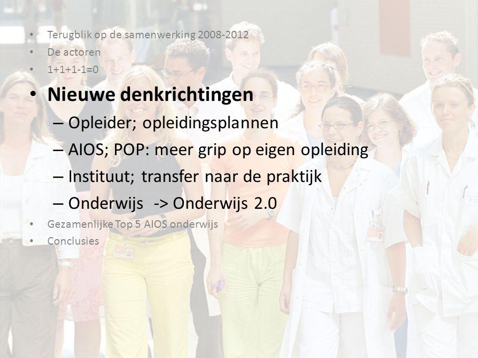 Terugblik op de samenwerking 2008-2012 De actoren 1+1+1-1=0 Nieuwe denkrichtingen Gezamenlijke Top 5 AIOS onderwijs Conclusies