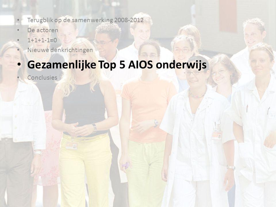Gezamenlijke Top 5 1.Teach the Teacher voor AIOS 2.Communicatie en samenwerking 3.Time management en burn-out preventie 4.Financiering van de gezondheidszorg 5.Inwerkprogramma nieuwe AIOS
