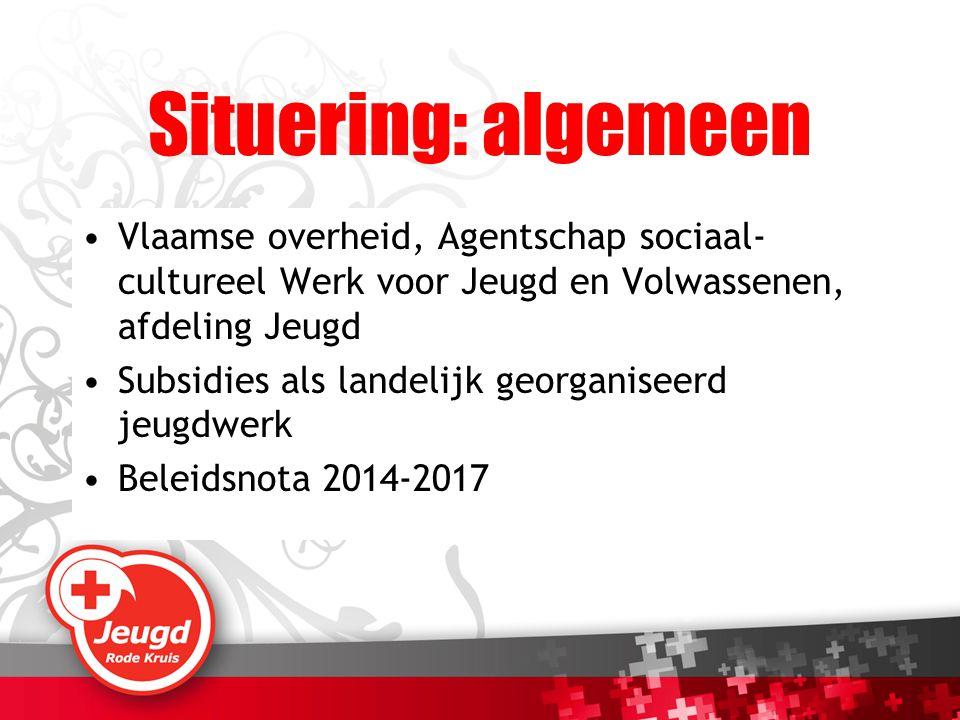 Situering: algemeen Vlaamse overheid, Agentschap sociaal- cultureel Werk voor Jeugd en Volwassenen, afdeling Jeugd Subsidies als landelijk georganisee