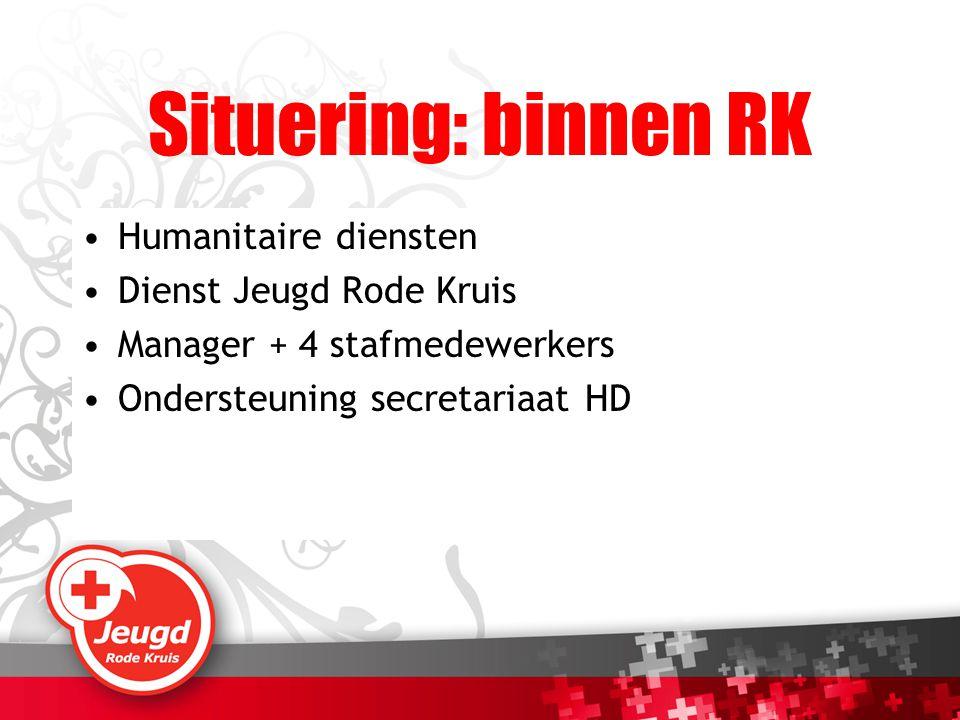 Situering: binnen RK Humanitaire diensten Dienst Jeugd Rode Kruis Manager + 4 stafmedewerkers Ondersteuning secretariaat HD