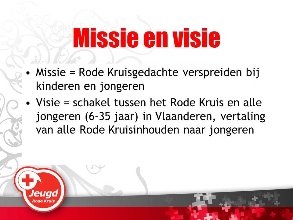 Missie en visie Missie = Rode Kruisgedachte verspreiden bij kinderen en jongeren Visie = schakel tussen het Rode Kruis en alle jongeren (6-35 jaar) in