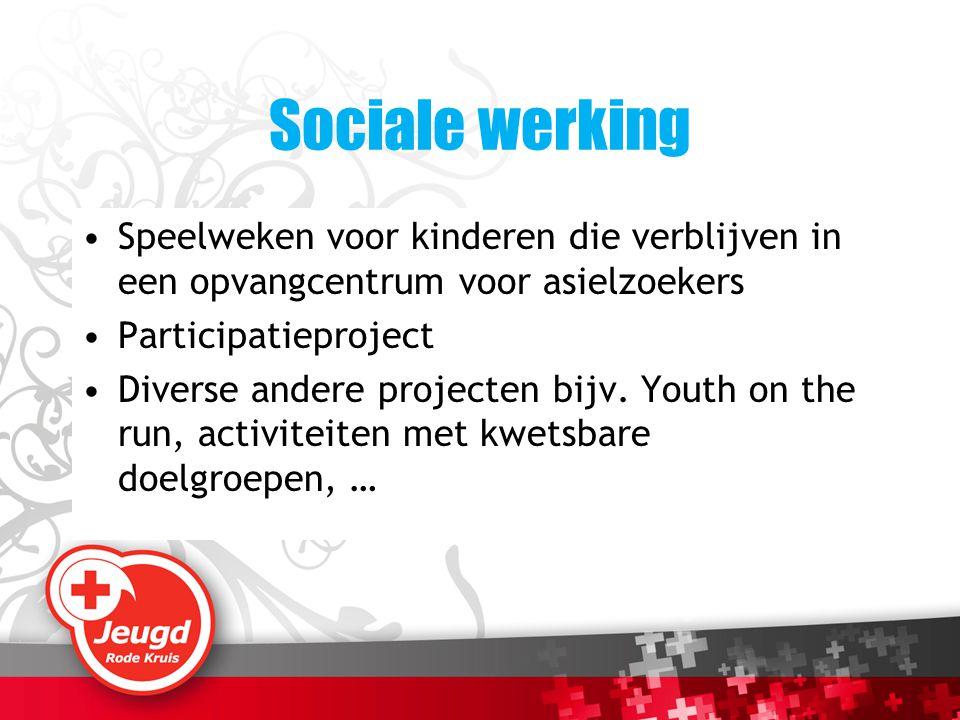 Sociale werking Speelweken voor kinderen die verblijven in een opvangcentrum voor asielzoekers Participatieproject Diverse andere projecten bijv. Yout