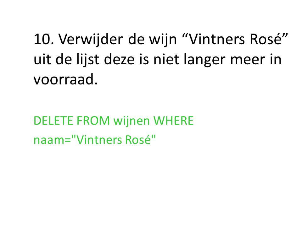 10. Verwijder de wijn Vintners Rosé uit de lijst deze is niet langer meer in voorraad.