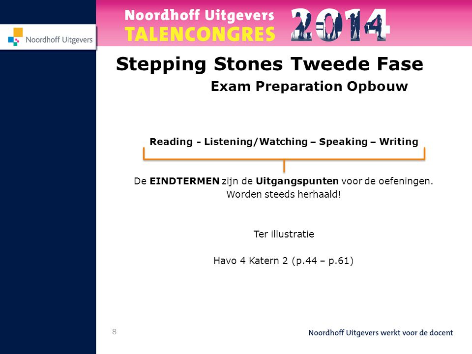 8 Stepping Stones Tweede Fase Exam Preparation Opbouw Reading- Listening/Watching – Speaking – Writing De EINDTERMEN zijn de Uitgangspunten voor de oe