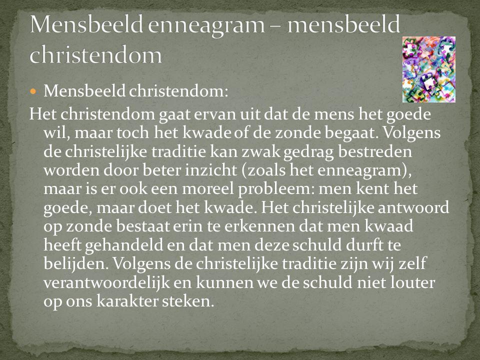 Mensbeeld christendom: Het christendom gaat ervan uit dat de mens het goede wil, maar toch het kwade of de zonde begaat.