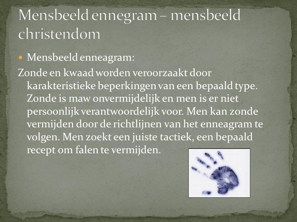 Mensbeeld enneagram: Zonde en kwaad worden veroorzaakt door karakteristieke beperkingen van een bepaald type.
