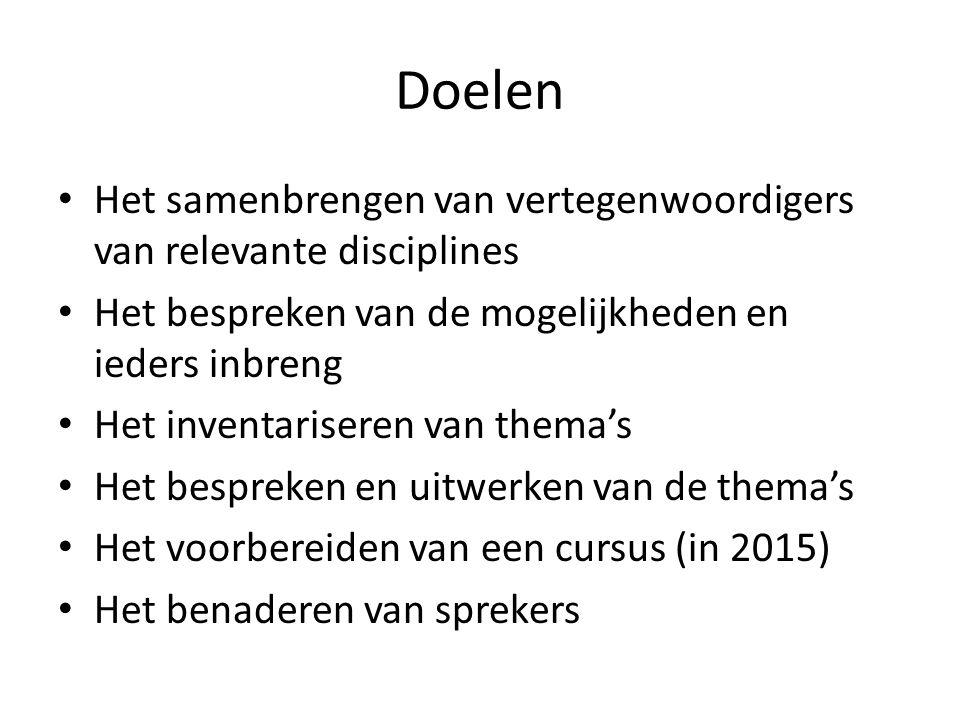 contact Eerste bijeenkomst maandagmiddag 17 maart Locatie wordt nader bekend gemaakt Belangstellenden worden verzocht zich te melden, met korte motivatie: Tineke Looijenga: j.h.looijenga@rug.nl; tel nr 0-6 140 544 96j.h.looijenga@rug.nl Anneke Mulder-Bakker: a.b.mulder- bakker@rug.nla.b.mulder- bakker@rug.nl