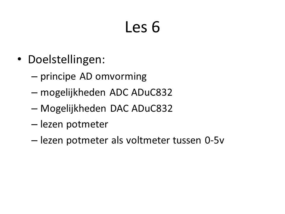 Les 6 Doelstellingen: – principe AD omvorming – mogelijkheden ADC ADuC832 – Mogelijkheden DAC ADuC832 – lezen potmeter – lezen potmeter als voltmeter tussen 0-5v