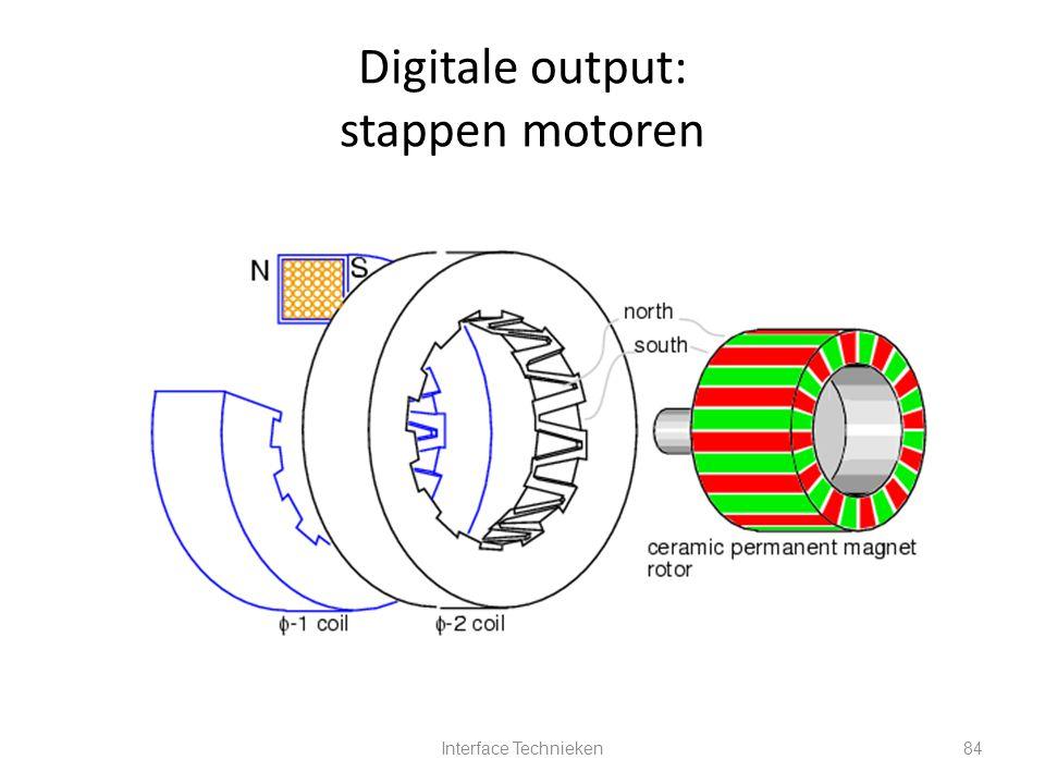 Interface Technieken84 Digitale output: stappen motoren