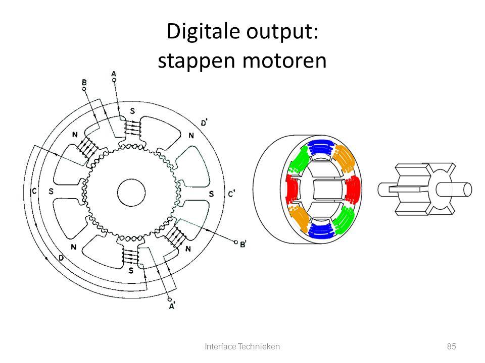 Interface Technieken85 Digitale output: stappen motoren