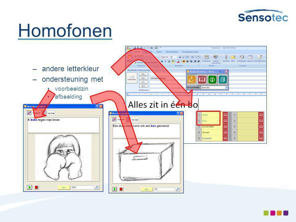 Homofonen –andere letterkleur –ondersteuning met voorbeeldzin afbeelding