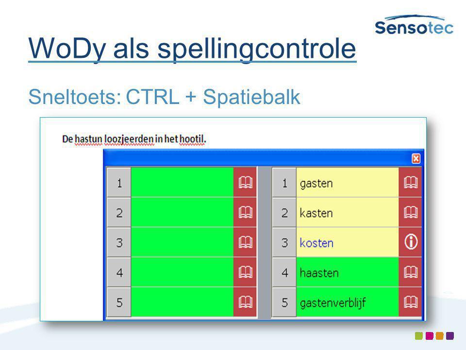 WoDy als spellingcontrole Sneltoets: CTRL + Spatiebalk