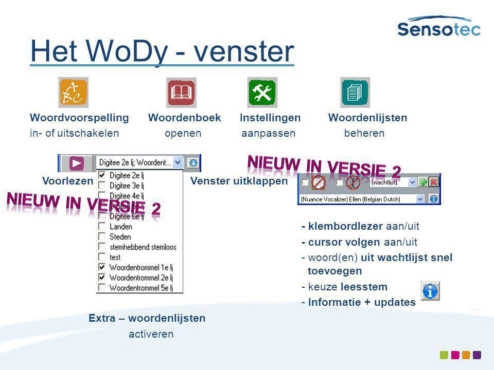 Het WoDy - venster Woordvoorspelling Woordenboek Instellingen Woordenlijsten in- of uitschakelen openen aanpassen beheren Voorlezen Venster uitklappen E- klembordlezer aan/uit - cursor volgen aan/uit - woord(en) uit wachtlijst snel toevoegen - keuze leesstem - Informatie + updates Extra – woordenlijsten activeren
