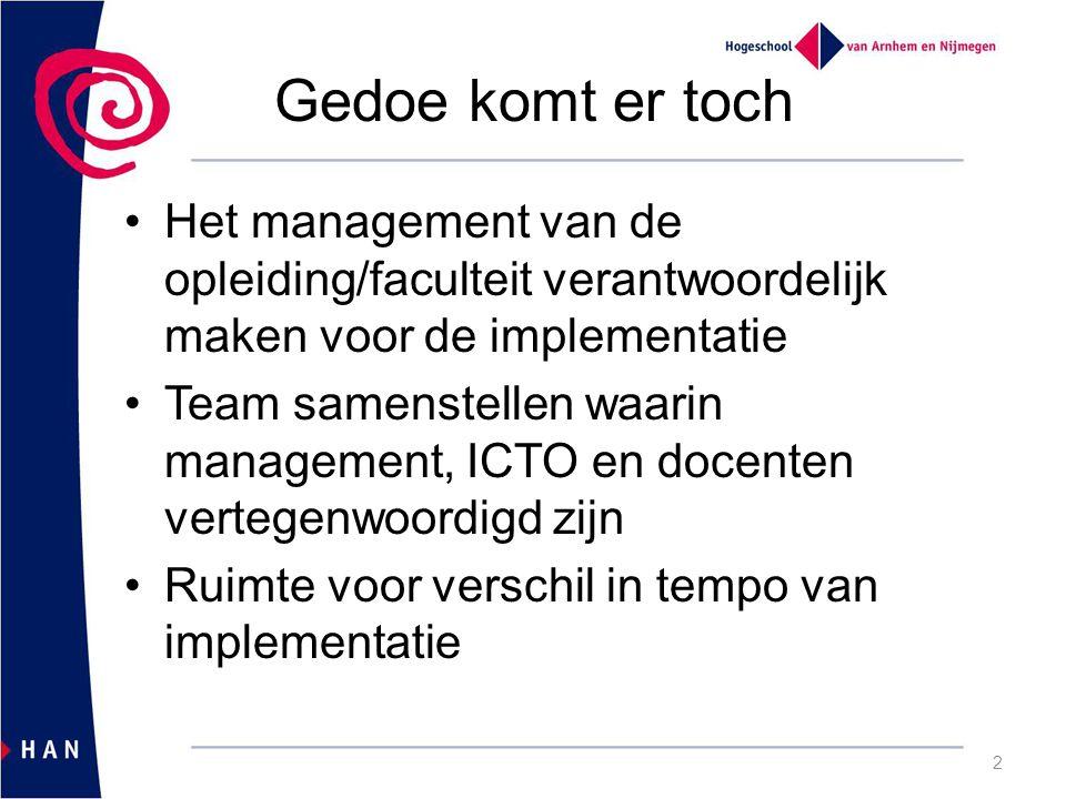 Gedoe komt er toch Het management van de opleiding/faculteit verantwoordelijk maken voor de implementatie Team samenstellen waarin management, ICTO en docenten vertegenwoordigd zijn Ruimte voor verschil in tempo van implementatie 2