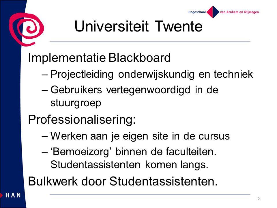 Universiteit Twente Implementatie Blackboard –Projectleiding onderwijskundig en techniek –Gebruikers vertegenwoordigd in de stuurgroep Professionalisering: –Werken aan je eigen site in de cursus –'Bemoeizorg' binnen de faculteiten.
